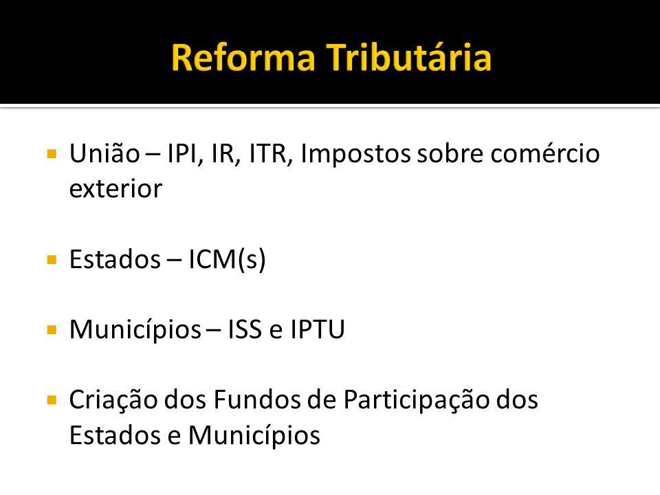 União – IPI, IR, ITR, Impostos sobre comércio exterior Estados – ICM(s) Municípios – ISS e IPTU Criação dos Fundos de Participação dos Estados e Munic