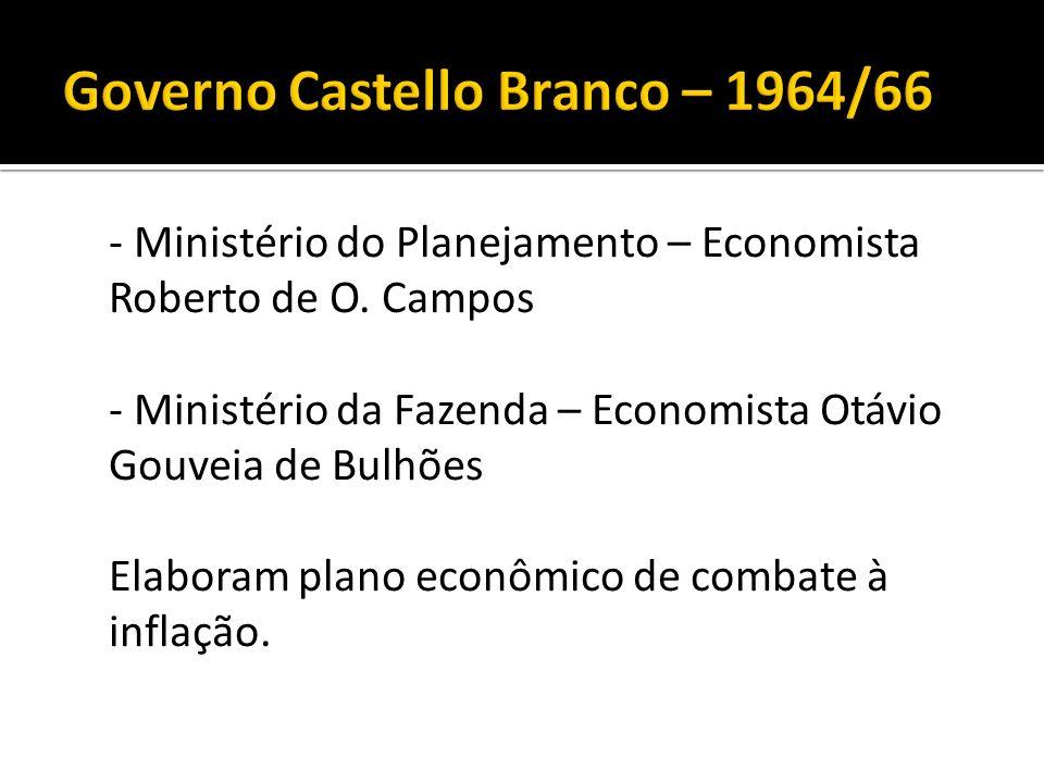 - Ministério do Planejamento – Economista Roberto de O. Campos - Ministério da Fazenda – Economista Otávio Gouveia de Bulhões Elaboram plano econômico
