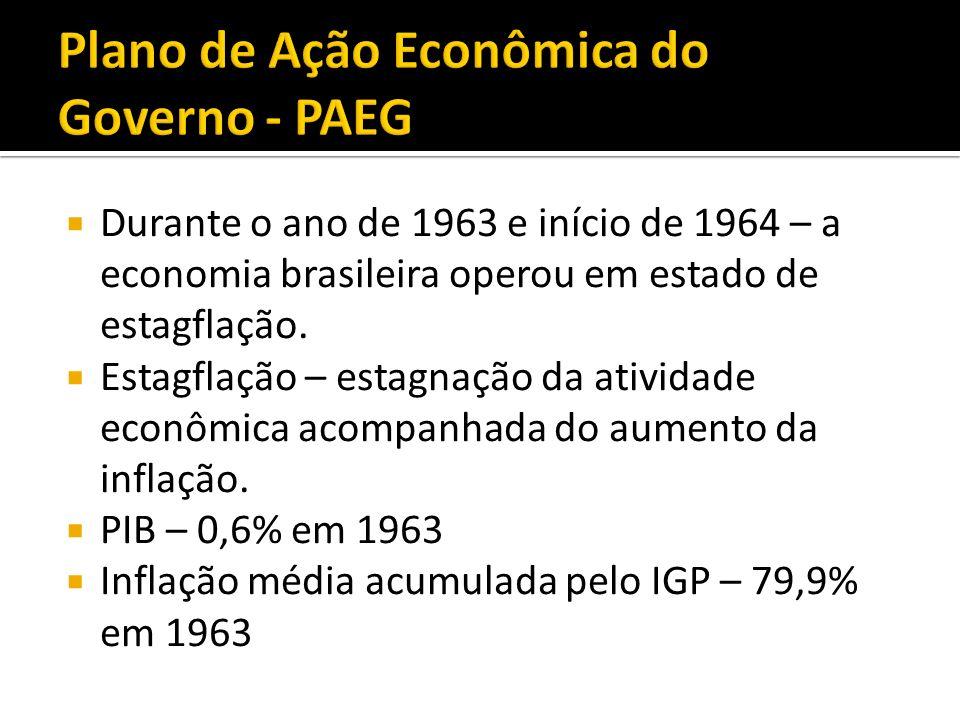 Durante o ano de 1963 e início de 1964 – a economia brasileira operou em estado de estagflação. Estagflação – estagnação da atividade econômica acompa