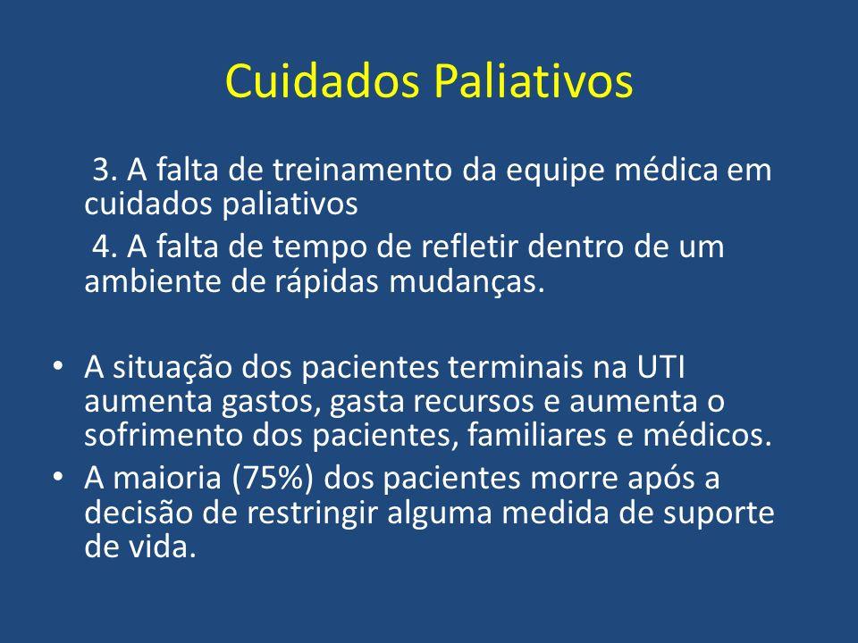 Cuidados Paliativos 3. A falta de treinamento da equipe médica em cuidados paliativos 4. A falta de tempo de refletir dentro de um ambiente de rápidas