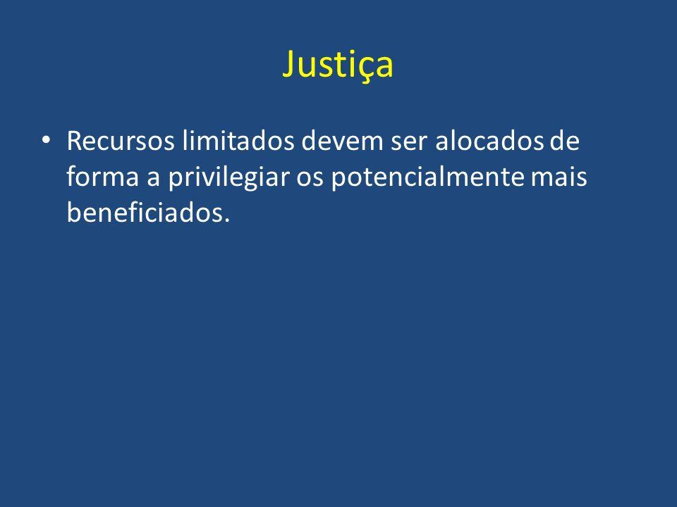 Justiça Recursos limitados devem ser alocados de forma a privilegiar os potencialmente mais beneficiados.