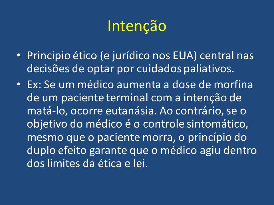 Intenção Principio ético (e jurídico nos EUA) central nas decisões de optar por cuidados paliativos. Ex: Se um médico aumenta a dose de morfina de um
