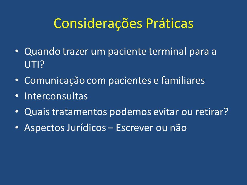 Considerações Práticas Quando trazer um paciente terminal para a UTI? Comunicação com pacientes e familiares Interconsultas Quais tratamentos podemos