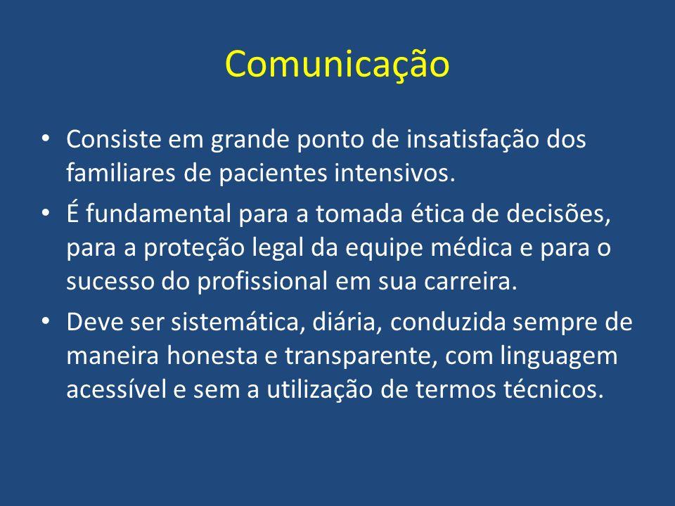 Comunicação Consiste em grande ponto de insatisfação dos familiares de pacientes intensivos. É fundamental para a tomada ética de decisões, para a pro