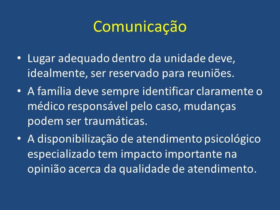 Comunicação Lugar adequado dentro da unidade deve, idealmente, ser reservado para reuniões. A família deve sempre identificar claramente o médico resp