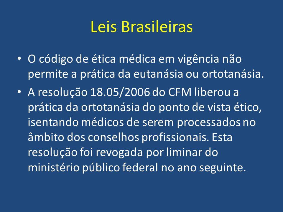 Leis Brasileiras O código de ética médica em vigência não permite a prática da eutanásia ou ortotanásia. A resolução 18.05/2006 do CFM liberou a práti