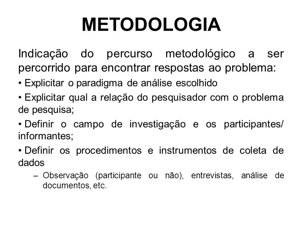 METODOLOGIA Indicação do percurso metodológico a ser percorrido para encontrar respostas ao problema: Explicitar o paradigma de análise escolhido Expl
