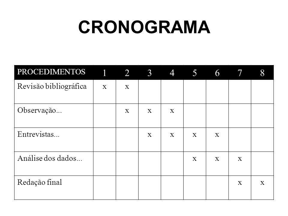 CRONOGRAMA PROCEDIMENTOS 12345678 Revisão bibliográficaxx Observação...xxx Entrevistas...xxxx Análise dos dados...xxx Redação finalxx