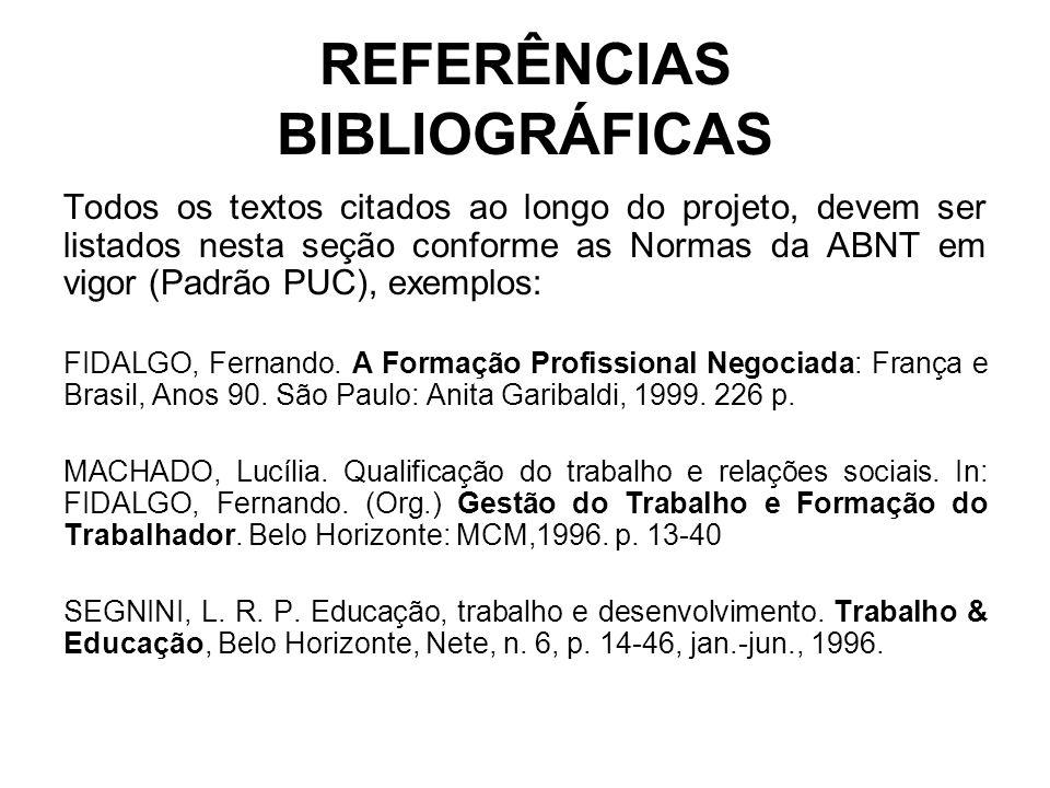 REFERÊNCIAS BIBLIOGRÁFICAS Todos os textos citados ao longo do projeto, devem ser listados nesta seção conforme as Normas da ABNT em vigor (Padrão PUC