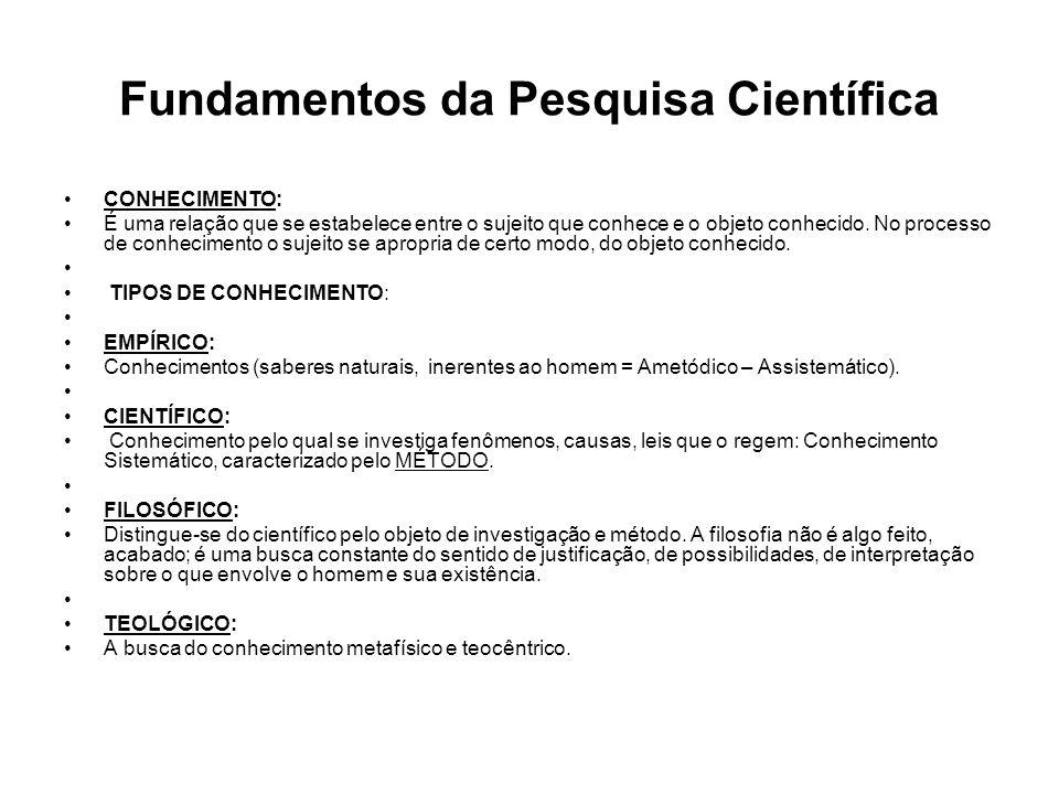 Fundamentos da Pesquisa Científica CONHECIMENTO: É uma relação que se estabelece entre o sujeito que conhece e o objeto conhecido. No processo de conh
