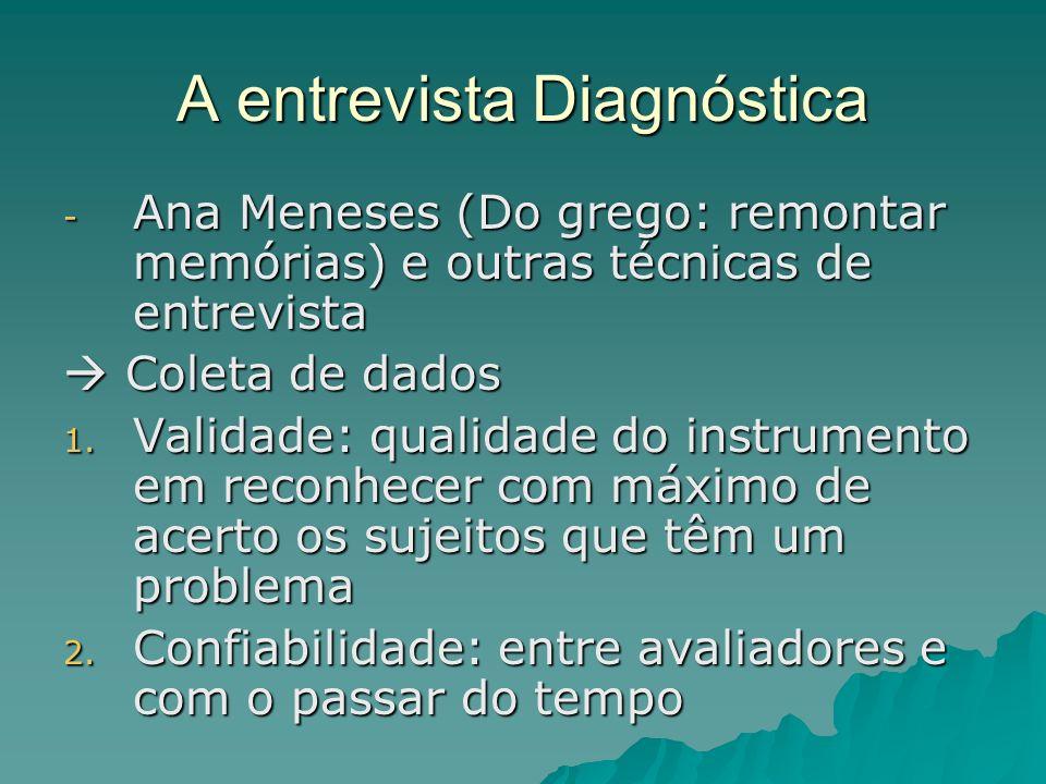A entrevista Diagnóstica - Ana Meneses (Do grego: remontar memórias) e outras técnicas de entrevista Coleta de dados Coleta de dados 1. Validade: qual