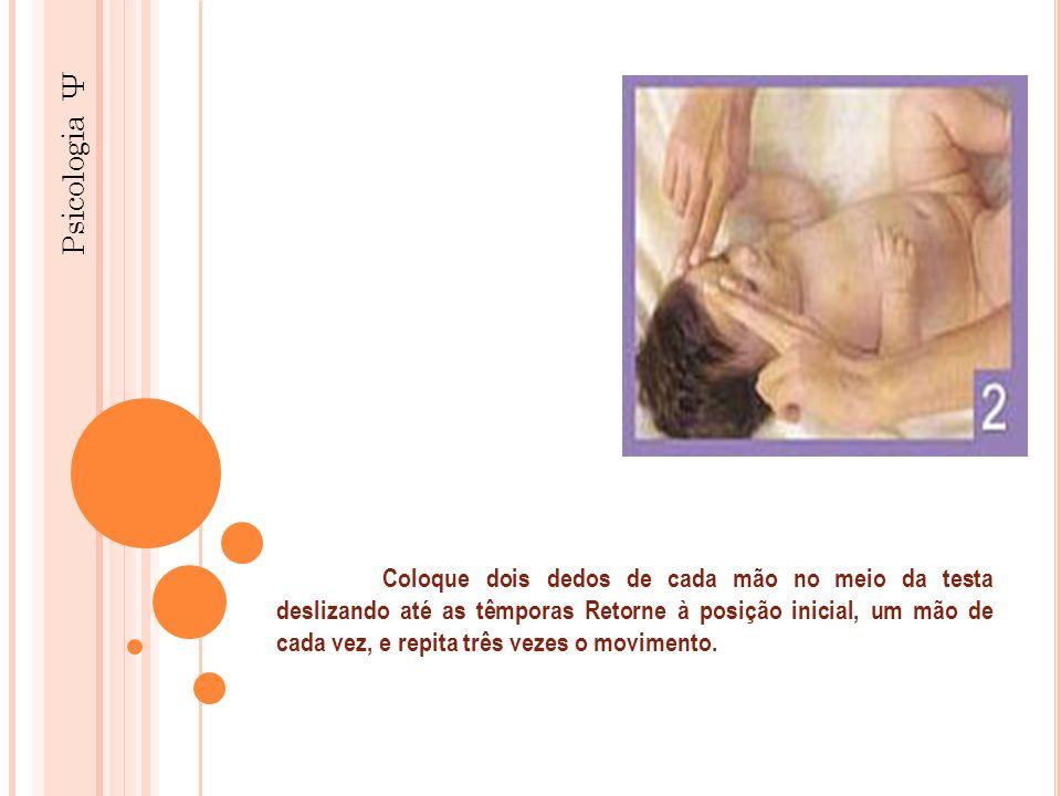 Psicologia Ψ Coloque dois dedos de cada mão no meio da testa deslizando até as têmporas Retorne à posição inicial, um mão de cada vez, e repita três v