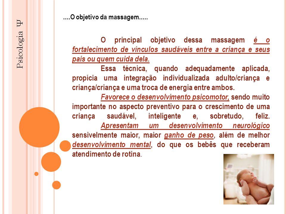 Psicologia Ψ O principal objetivo dessa massagem é o fortalecimento de vínculos saudáveis entre a criança e seus pais ou quem cuida dela. Essa técnica