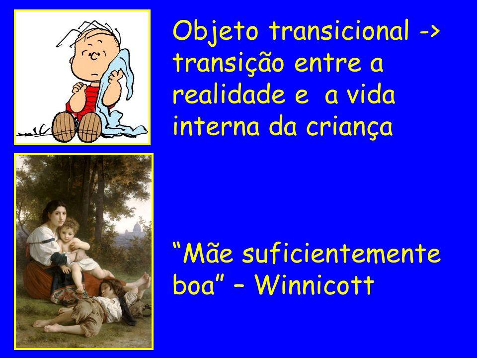 Objeto transicional -> transição entre a realidade e a vida interna da criança Mãe suficientemente boa – Winnicott