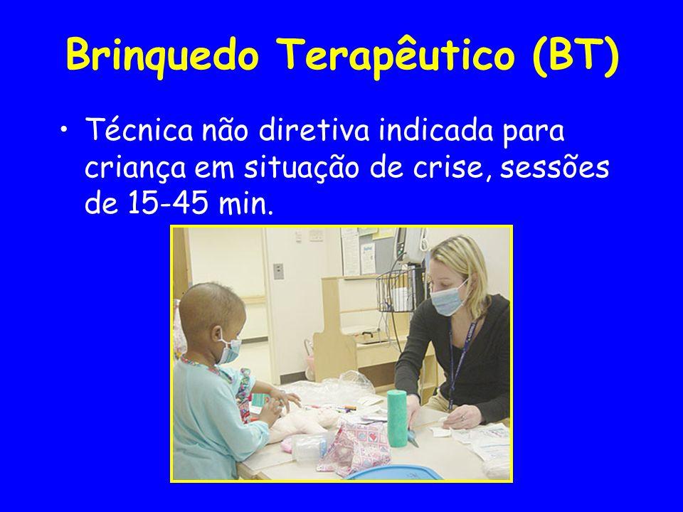 Brinquedo Terapêutico (BT) Técnica não diretiva indicada para criança em situação de crise, sessões de 15-45 min.