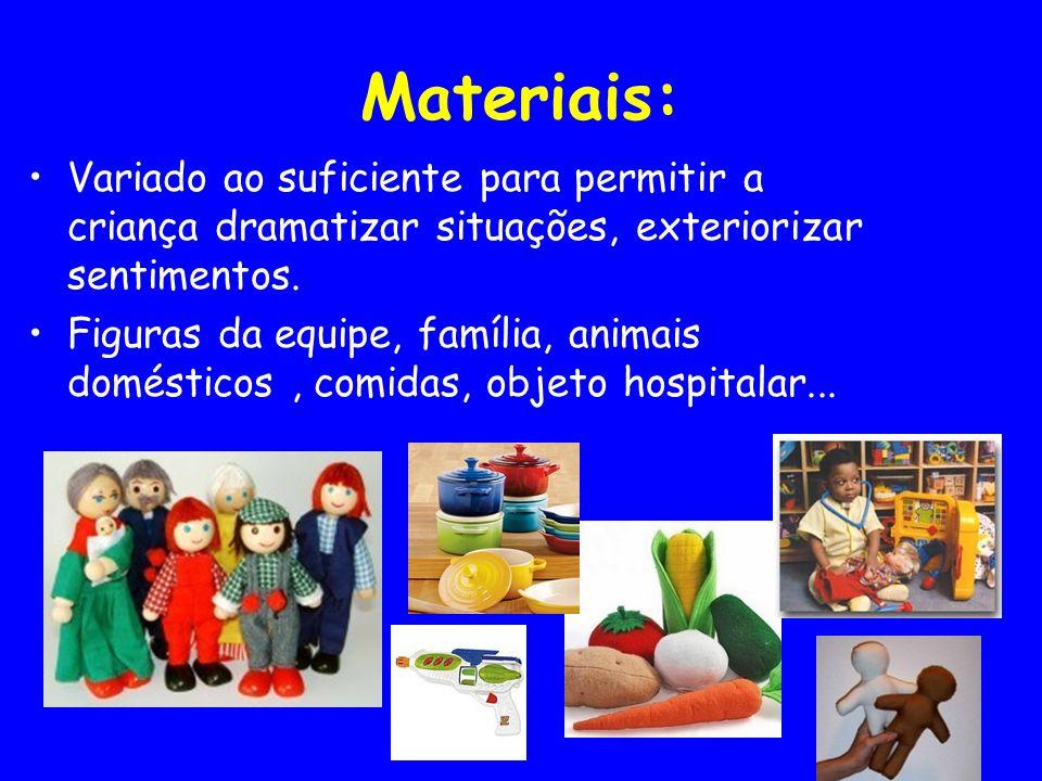 Materiais: Variado ao suficiente para permitir a criança dramatizar situações, exteriorizar sentimentos. Figuras da equipe, família, animais doméstico
