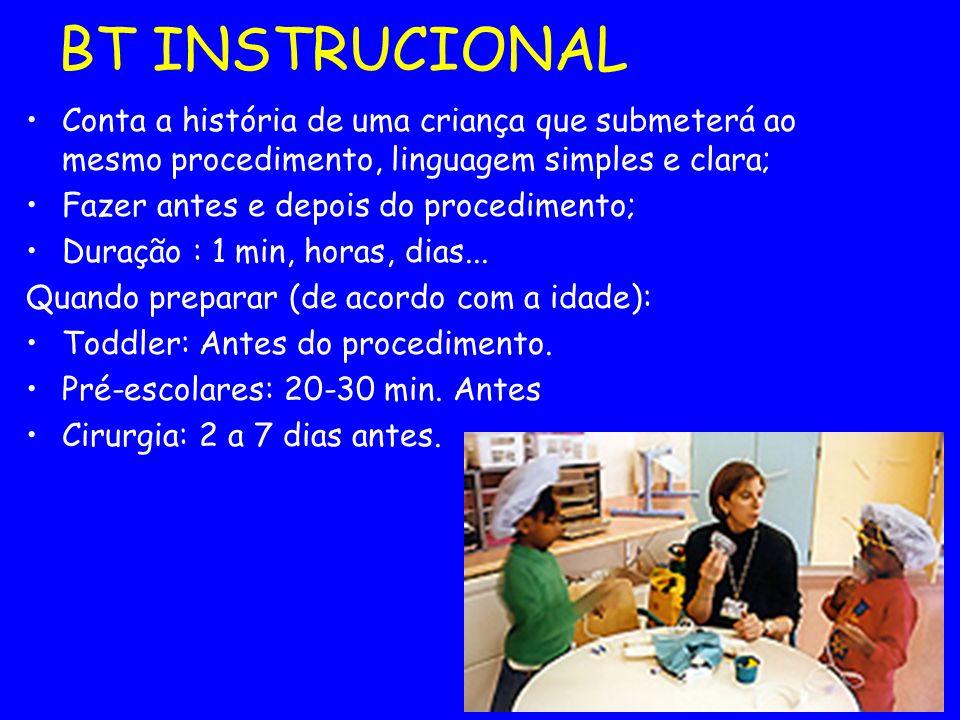 BT INSTRUCIONAL Conta a história de uma criança que submeterá ao mesmo procedimento, linguagem simples e clara; Fazer antes e depois do procedimento;