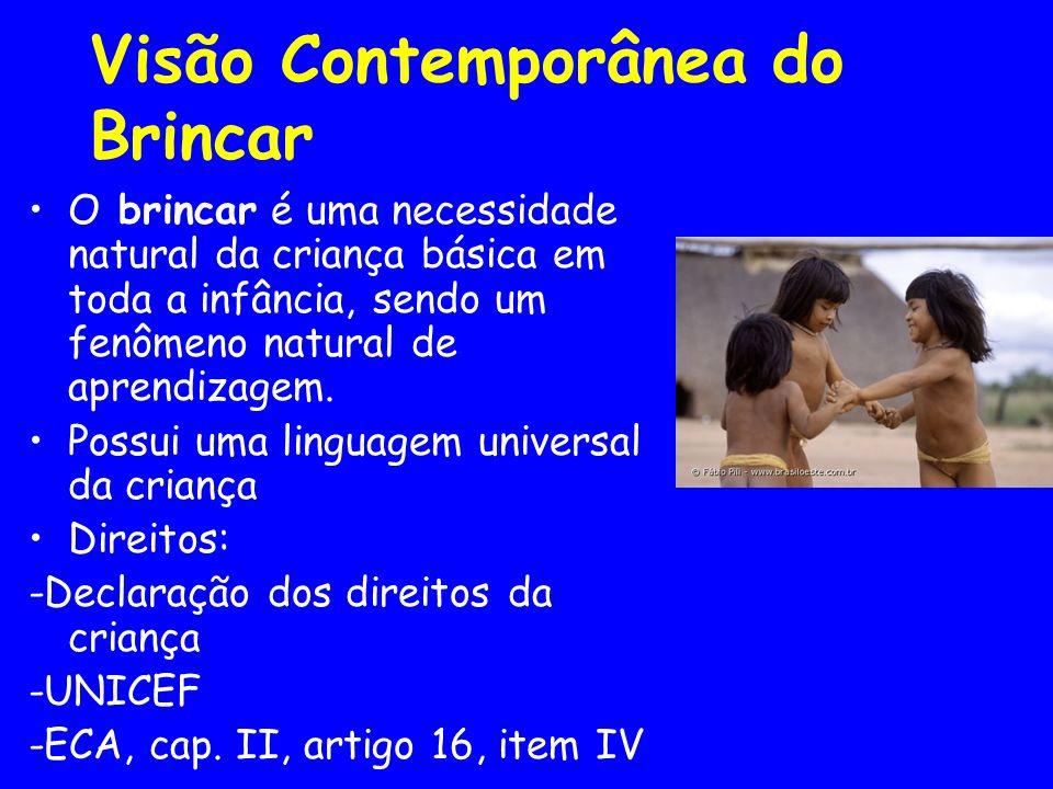 Visão Contemporânea do Brincar O brincar é uma necessidade natural da criança básica em toda a infância, sendo um fenômeno natural de aprendizagem. Po