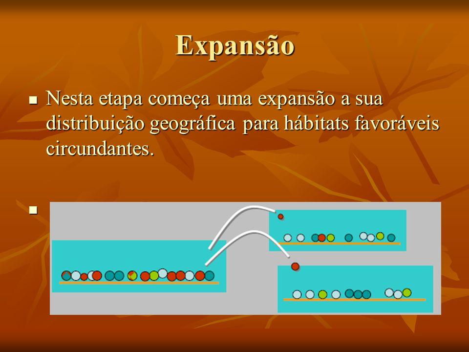 Expansão Nesta etapa começa uma expansão a sua distribuição geográfica para hábitats favoráveis circundantes. Nesta etapa começa uma expansão a sua di
