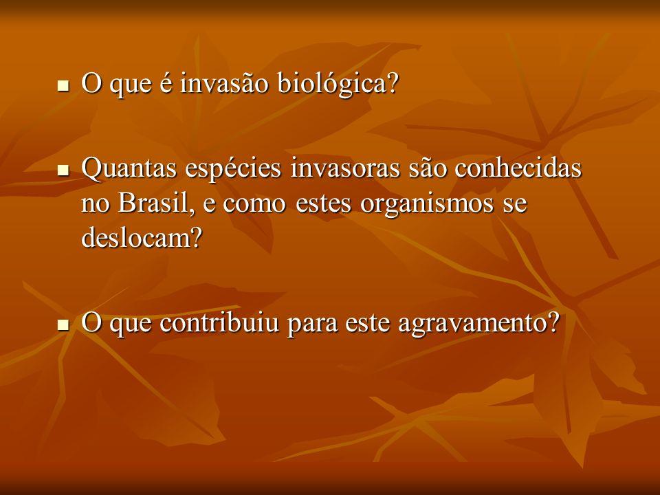 O que é invasão biológica? O que é invasão biológica? Quantas espécies invasoras são conhecidas no Brasil, e como estes organismos se deslocam? Quanta