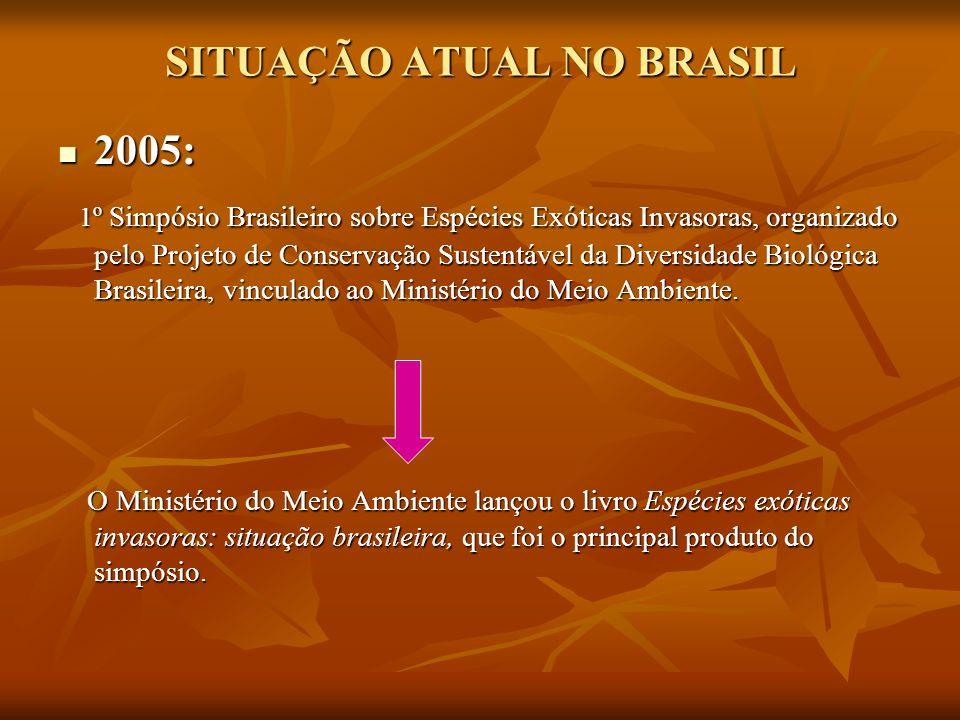 SITUAÇÃO ATUAL NO BRASIL 2005: 2005: 1 º Simpósio Brasileiro sobre Espécies Exóticas Invasoras, organizado pelo Projeto de Conservação Sustentável da