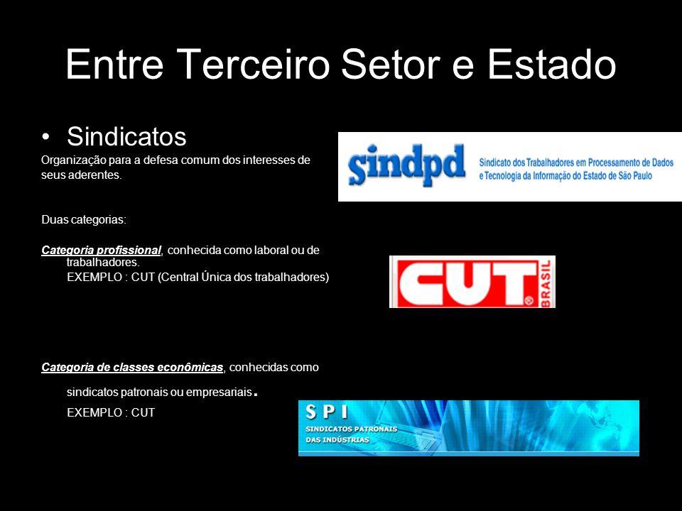 Entre Terceiro Setor e Estado Sindicatos Organização para a defesa comum dos interesses de seus aderentes. Duas categorias: Categoria profissional, co