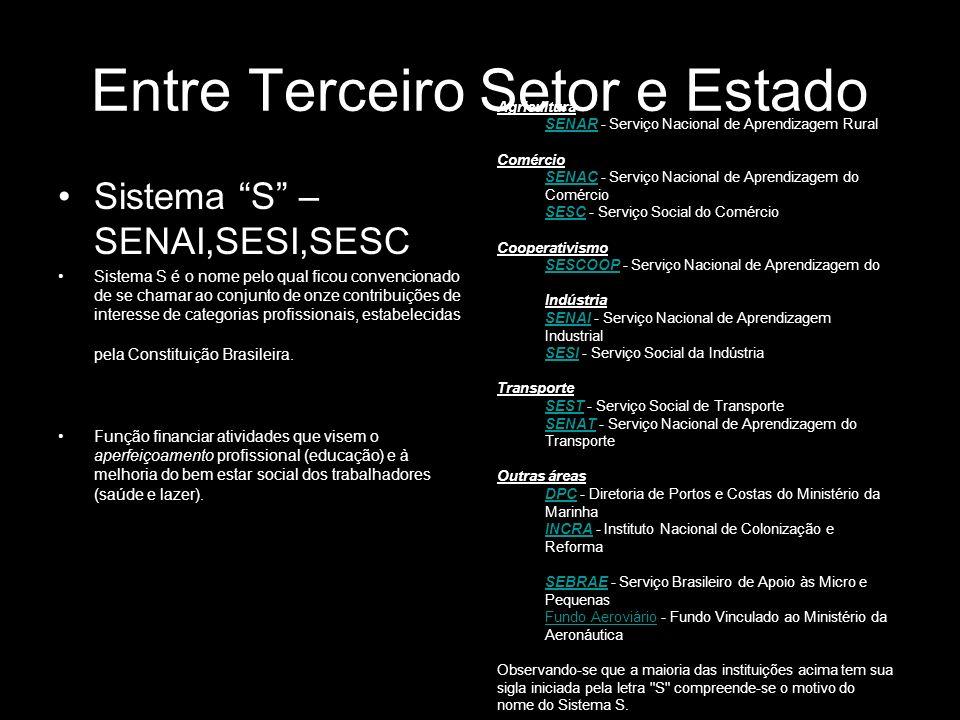 Entre Terceiro Setor e Estado Sistema S – SENAI,SESI,SESC Sistema S é o nome pelo qual ficou convencionado de se chamar ao conjunto de onze contribuiç