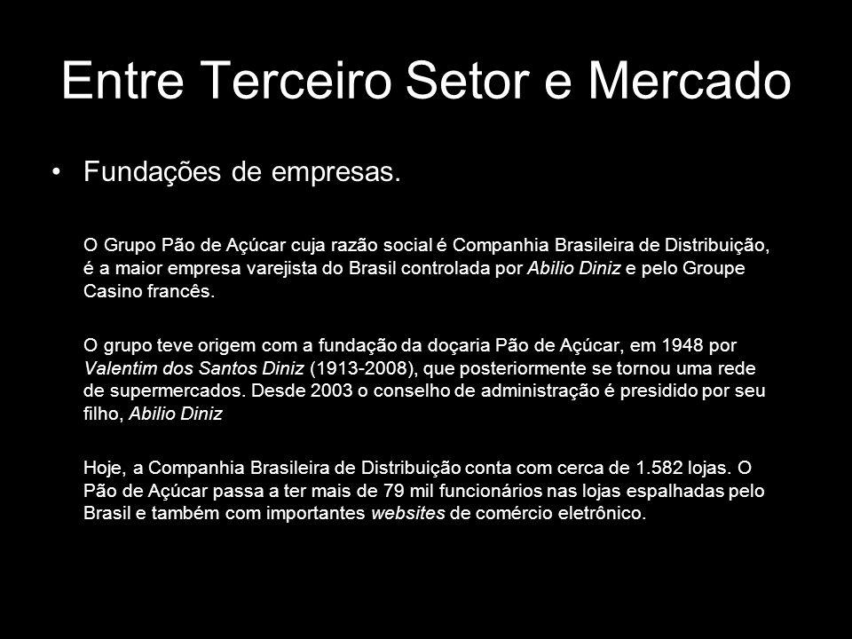 Entre Terceiro Setor e Mercado Fundações de empresas. O Grupo Pão de Açúcar cuja razão social é Companhia Brasileira de Distribuição, é a maior empres