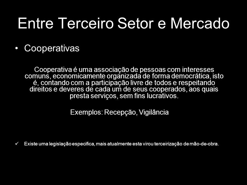 Entre Terceiro Setor e Mercado Cooperativas Cooperativa é uma associação de pessoas com interesses comuns, economicamente organizada de forma democrát
