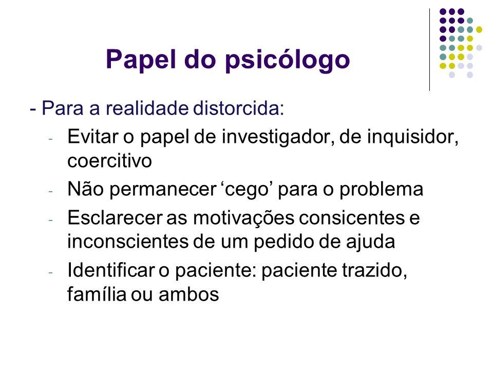 Papel do psicólogo - Para a realidade distorcida: - Evitar o papel de investigador, de inquisidor, coercitivo - Não permanecer cego para o problema -