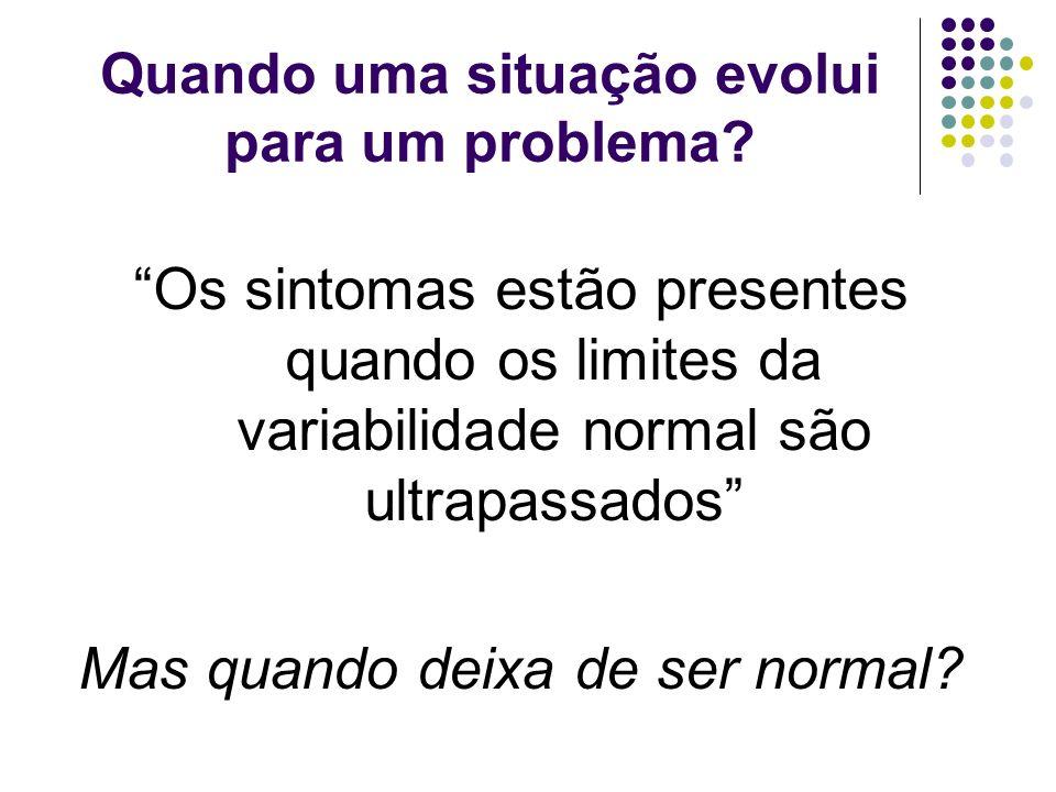 Quando uma situação evolui para um problema? Os sintomas estão presentes quando os limites da variabilidade normal são ultrapassados Mas quando deixa