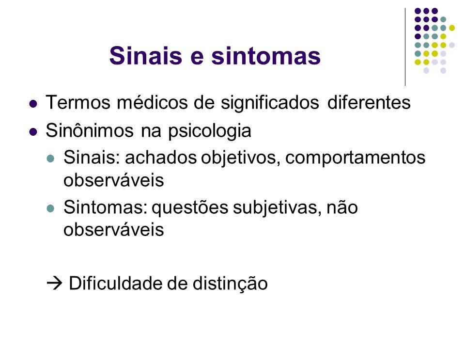 Sinais e sintomas Termos médicos de significados diferentes Sinônimos na psicologia Sinais: achados objetivos, comportamentos observáveis Sintomas: qu