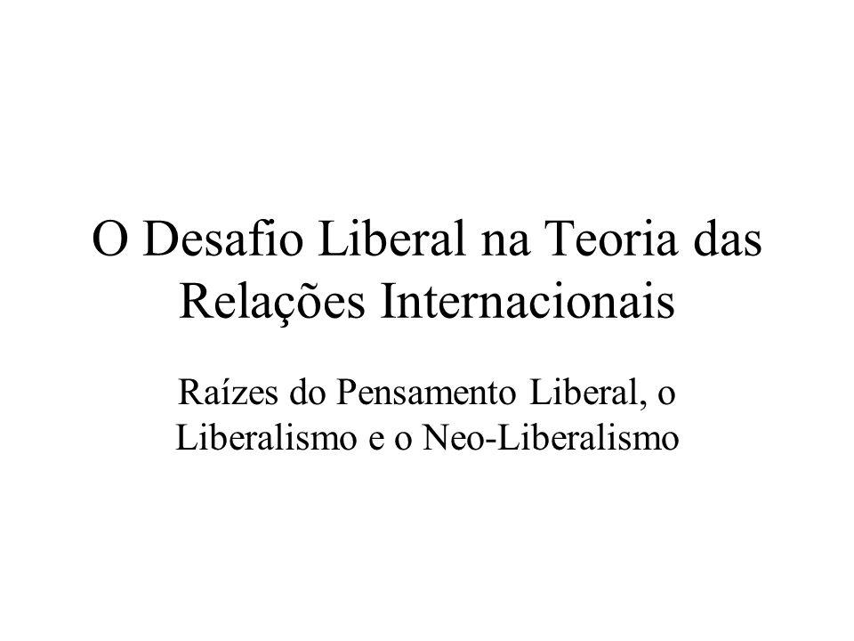O Desafio Liberal na Teoria das Relações Internacionais Antecedentes do desafio liberal O desafio liberal na década da 1970 Acomodações do liberalismo: o neoliberalismo Articulando o institucionalismo neoliberal A alternativa liberal na teoria das Relações Internacionais hoje
