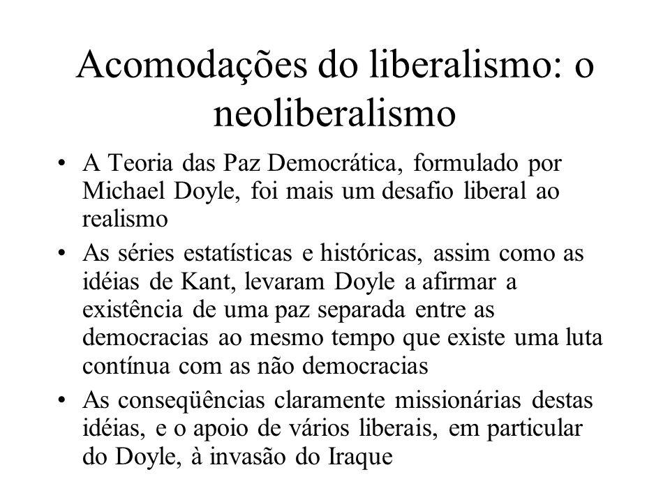 Acomodações do liberalismo: o neoliberalismo A Teoria das Paz Democrática, formulado por Michael Doyle, foi mais um desafio liberal ao realismo As sér