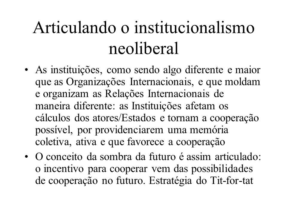 Articulando o institucionalismo neoliberal As instituições, como sendo algo diferente e maior que as Organizações Internacionais, e que moldam e organ
