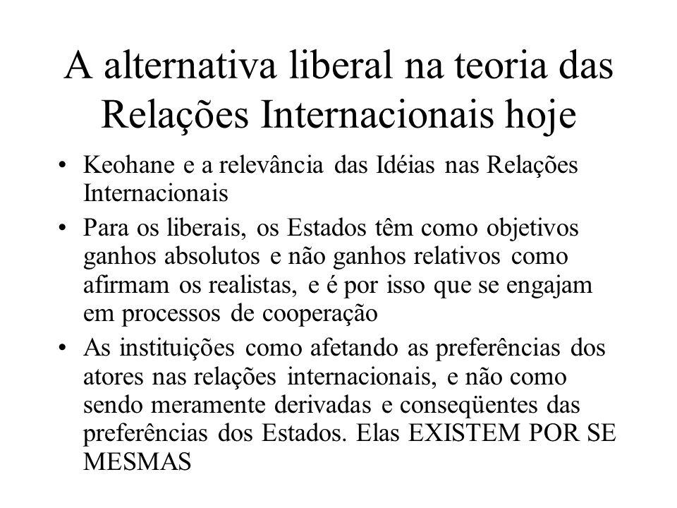A alternativa liberal na teoria das Relações Internacionais hoje Keohane e a relevância das Idéias nas Relações Internacionais Para os liberais, os Es