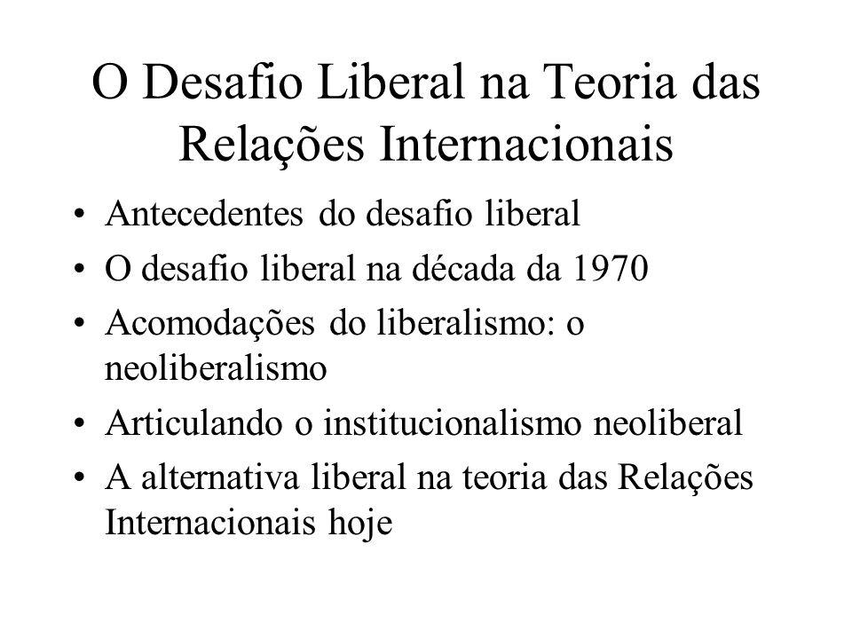 Antecedentes do desafio liberal O Liberalismo no Século XVIII: Adam Smith e Kant Os primórdios da disciplina de Relações Internacionais e o Idealismo utópico Woodrow Wilson e as primeiras idéias institucionalistas na Teoria das Relações Internacionais