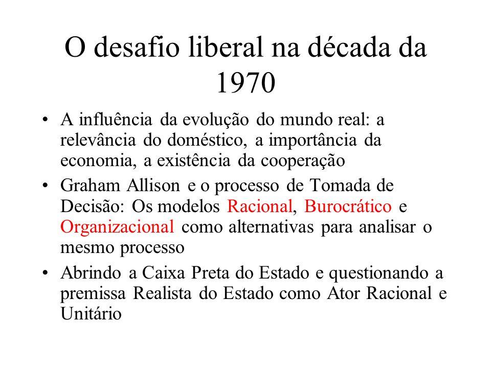 O desafio liberal na década da 1970 Questionando Morgenthau, e a separação e superioridade do político perante as demais áreas: a Economia Política Internacional.