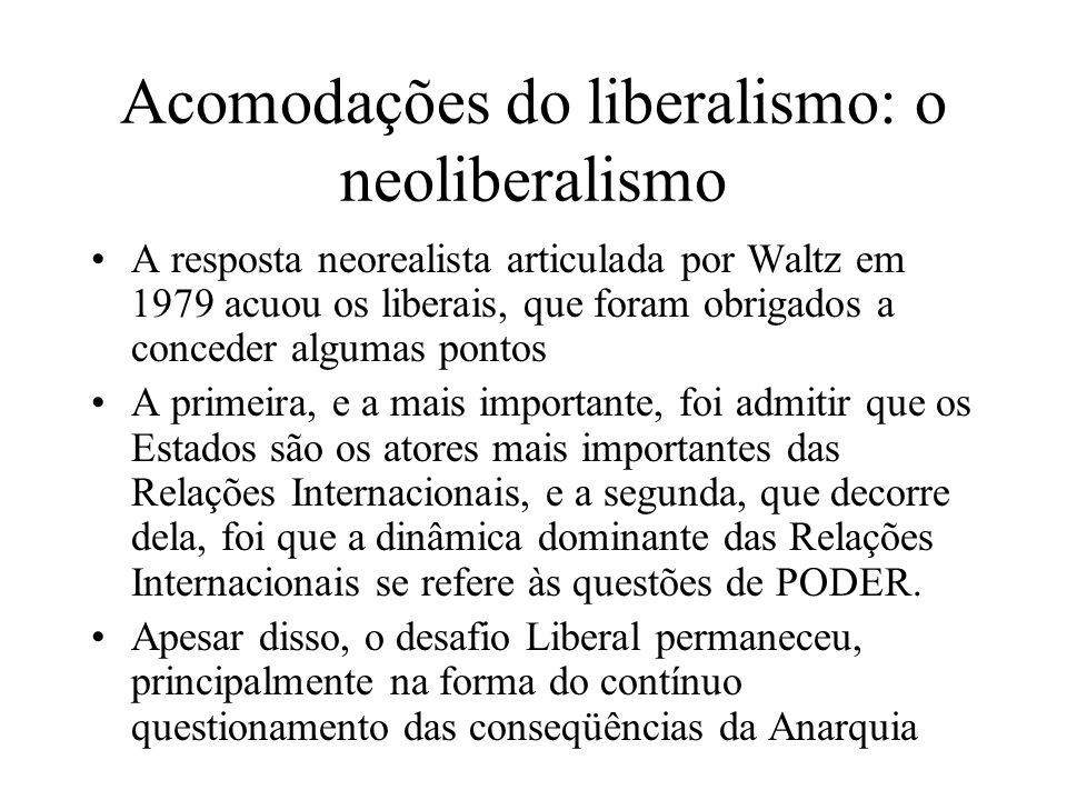 Acomodações do liberalismo: o neoliberalismo A resposta neorealista articulada por Waltz em 1979 acuou os liberais, que foram obrigados a conceder alg