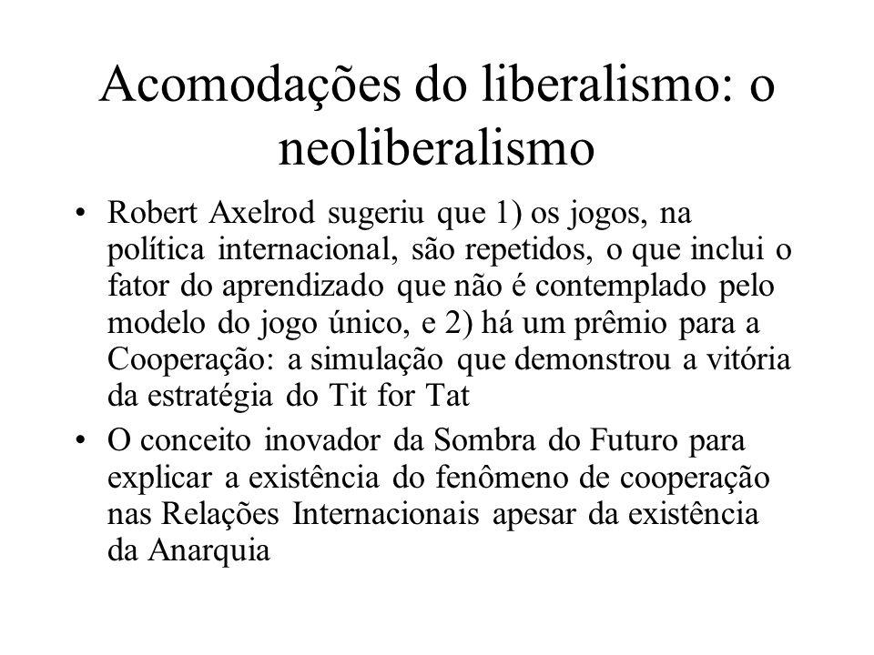 Acomodações do liberalismo: o neoliberalismo Robert Axelrod sugeriu que 1) os jogos, na política internacional, são repetidos, o que inclui o fator do
