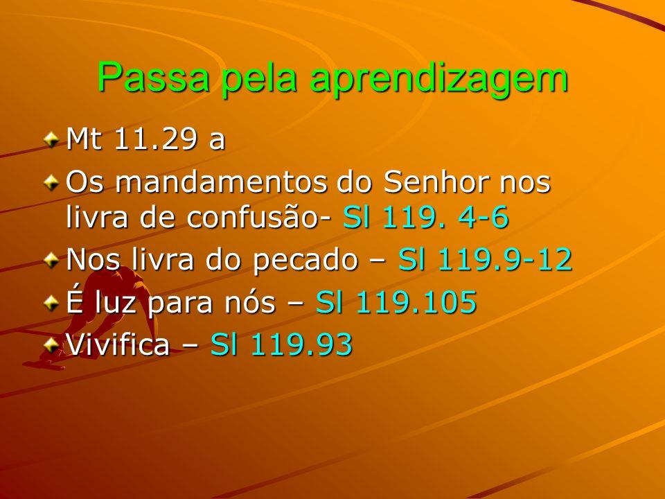Passa pela aprendizagem Mt 11.29 a Os mandamentos do Senhor nos livra de confusão- Sl 119. 4-6 Nos livra do pecado – Sl 119.9-12 É luz para nós – Sl 1
