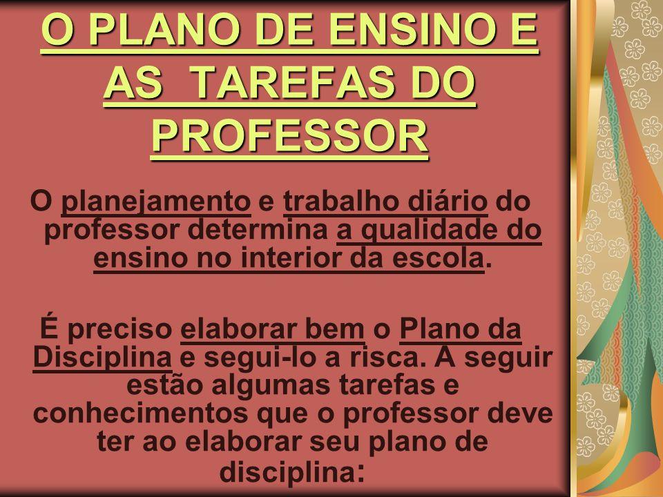 TAREFAS DO PROFESSOR PARA ELABORAR O PLANO DE ENSINO DA DISCIPLINA Assegurar ao aluno domínio duradouro e seguro dos conhecimentos.