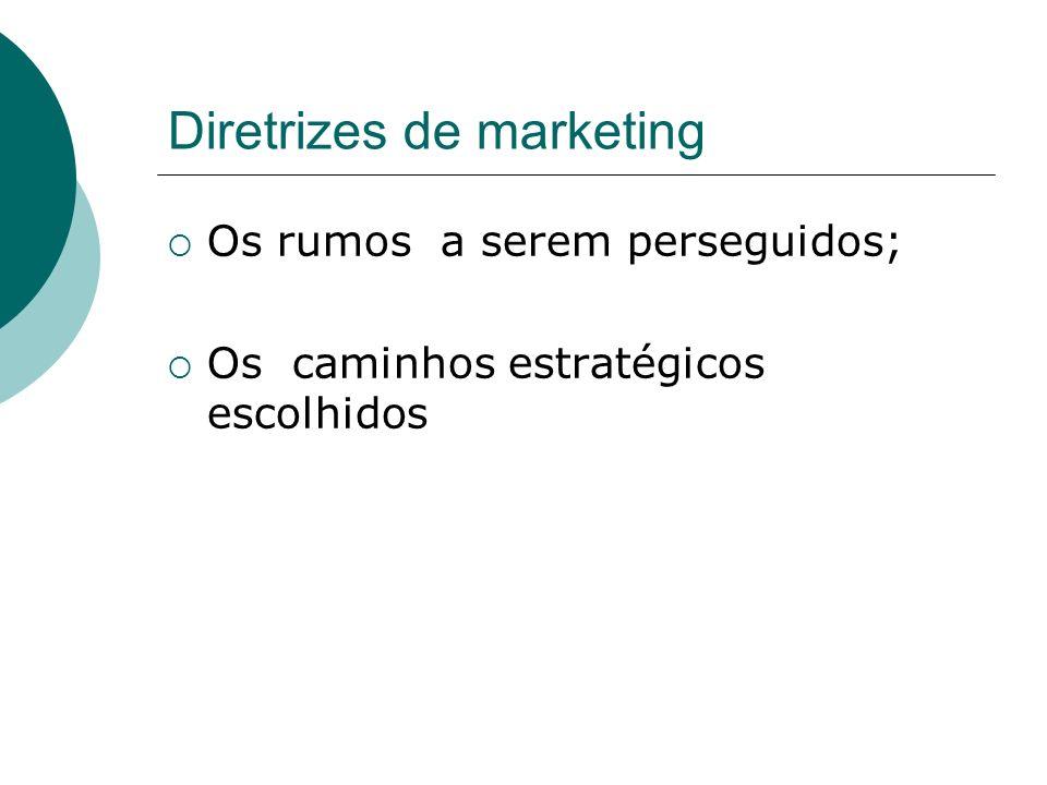 Diretrizes de marketing Os rumos a serem perseguidos; Os caminhos estratégicos escolhidos