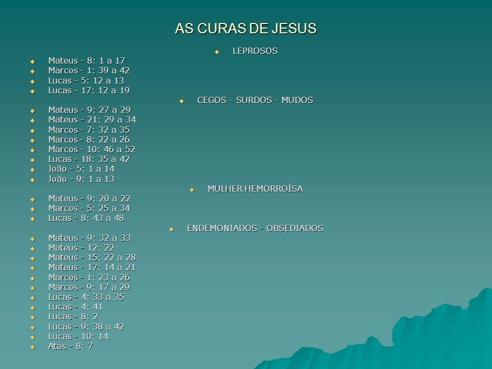 AS CURAS DE JESUS LEPROSOS LEPROSOS Mateus - 8: 1 a 17 Mateus - 8: 1 a 17 Marcos - 1: 39 a 42 Marcos - 1: 39 a 42 Lucas - 5: 12 a 13 Lucas - 5: 12 a 1