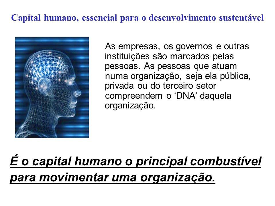 Capital humano, essencial para o desenvolvimento sustentável As empresas, os governos e outras instituições são marcados pelas pessoas. As pessoas que