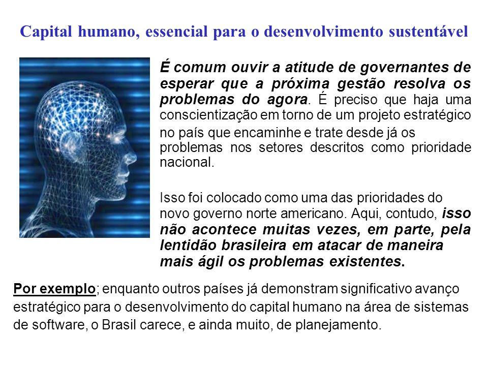Capital humano, essencial para o desenvolvimento sustentável É comum ouvir a atitude de governantes de esperar que a próxima gestão resolva os problem