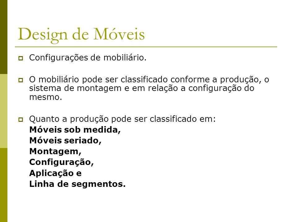 Design de Móveis Configurações de mobiliário. O mobiliário pode ser classificado conforme a produção, o sistema de montagem e em relação a configuraçã
