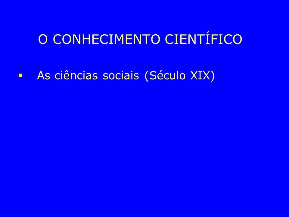 O CONHECIMENTO CIENTÍFICO As ciências sociais (Século XIX) Auguste Comte A física Social