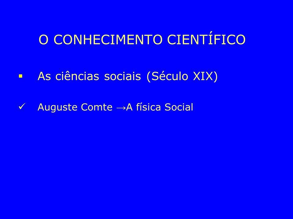 O CONHECIMENTO CIENTÍFICO As ciências sociais (Século XIX) Auguste Comte A física Social Émile Durkheim Os fatos sociais como objeto da sociologia