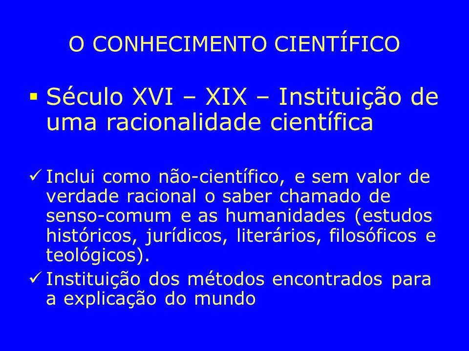 O CONHECIMENTO CIENTÍFICO Século XVI – XIX – Instituição de uma racionalidade científica Inclui como não-científico, e sem valor de verdade racional o saber chamado de senso-comum e as humanidades (estudos históricos, jurídicos, literários, filosóficos e teológicos).